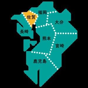 佐賀県の位置(九州の地図)